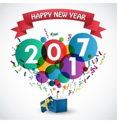Happy new year 2017 celebration with gift box vector