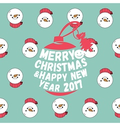 Snowman seamless pattern with merry christmas text vector