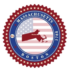 Label sticker cards of state massachusetts usa vector