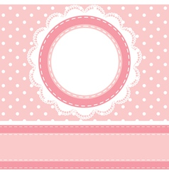 Polka dot background with lace napkin vector