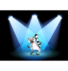 A stage with a dancing lemur vector