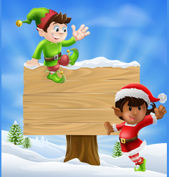 christmas elves and sign vector image