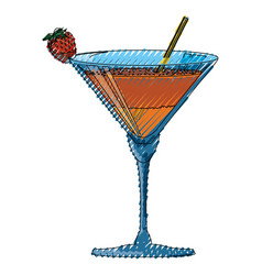 Delicious cocktail drink vector