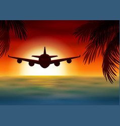 Airplane flies over the sea at sunset vector