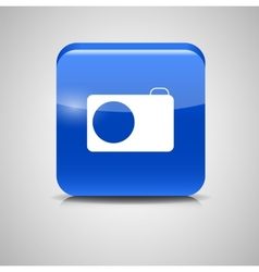 Glass photo button icon vector