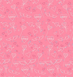 Sketch style Valentines Day seamless pattern vector image