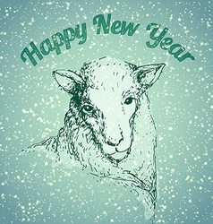 Sheep with snowflake vector image