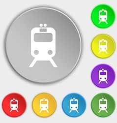 Train icon sign symbol on five flat buttons vector