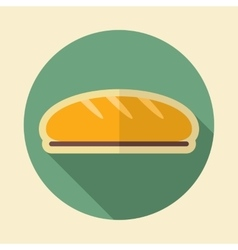 Bread retro flat icon with long shadow vector