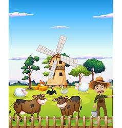 A farmer with the farm animals vector image