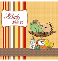 baby boy weighed on the scale vector image vector image