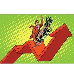 Businessman on a sled up arrow chart sales vector