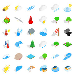 Calm place icons set isometric style vector