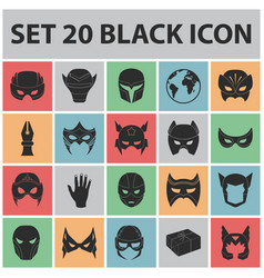carnival mask black icons in set collection for vector image