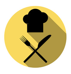 chef with knife and fork sign flat black vector image vector image