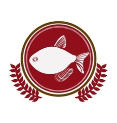 Circular border with crown branch with fish vector