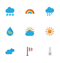 climate flat icons set collection of shower snow vector image vector image