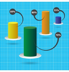 Color column chart with text and background grid vector