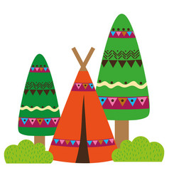 Colorful ethnic camp with trees and bushes plant vector