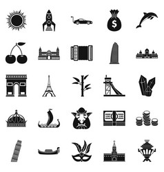 Exploring the world icons set simple style vector