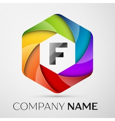 F Letter colorful logo in the hexagonal on grey vector image vector image