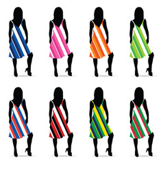 girl silhouette in dresess color set vector image vector image