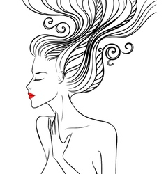 Girl with swirl hair vector image