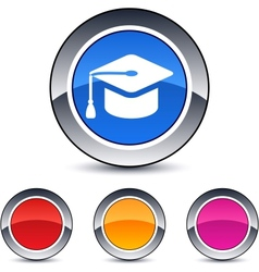 graduation round button vector image