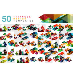 Mega collection of 50 color transparent triangle vector
