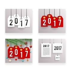 New year text symbol paper labels set template vector