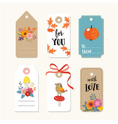 retro set of cute autumn fall gift tags and vector image vector image