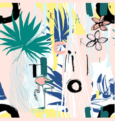 Seamless pattern of tropical birds palms flowers vector