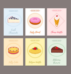 Set of pastry posters banners for sweet food vector