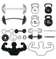 Set of vintage gym emblems labels and design vector