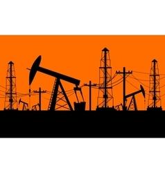 Silhouette of oil derrick vector image