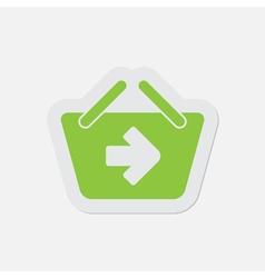 Simple green icon - shopping basket next vector