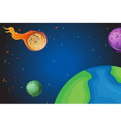 Space scene with comet over the earth vector