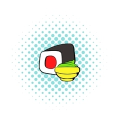 Sushi roll icon comics style vector