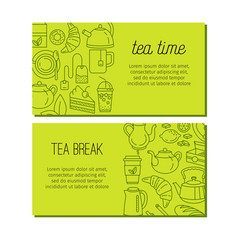 tea design banners with line icons vector image vector image
