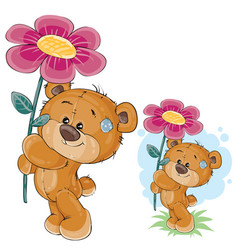 teddy bear holding a pink flower in the vector image vector image