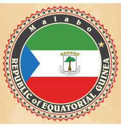 Vintage label cards of equatorial guinea flag vector