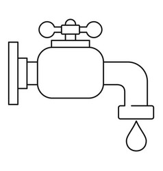 Water tap icon outline style vector