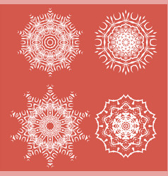 White ornamental rosettes oriental ornament vector