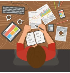 Workplace office desk Business woman working with vector image