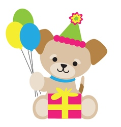 Brown Puppy Birthday vector image