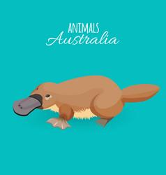 Australia animal brown crawling duckbilled vector
