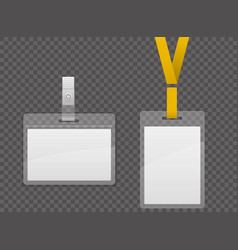 set of lanyard and badge template plastic badge vector image