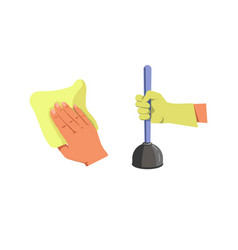 Human hand holding duster for cleaning and plunger vector