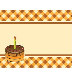 Cake with a candle on a plaid background vector