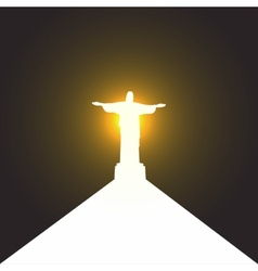 Silhouette of a statue of jesus christ in rio de vector
